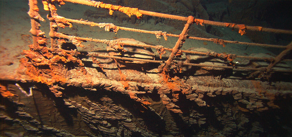 the starboard railing near the bow of the Titanic as photographed in 2004 by ROV Hercules deployed from the NOAA ship Ronald H. Brown. Credit: NOAA/Institute for Exploration/University of Rhode Island or NOAA—IFE/URI.