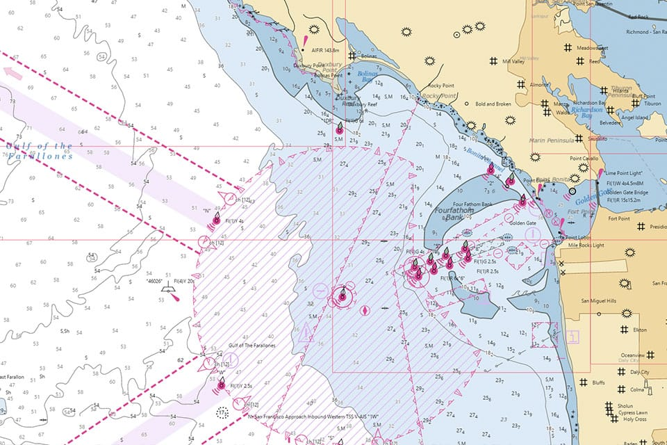 This is a view of an electronic nautical chart for the coast near San Francisco, California.