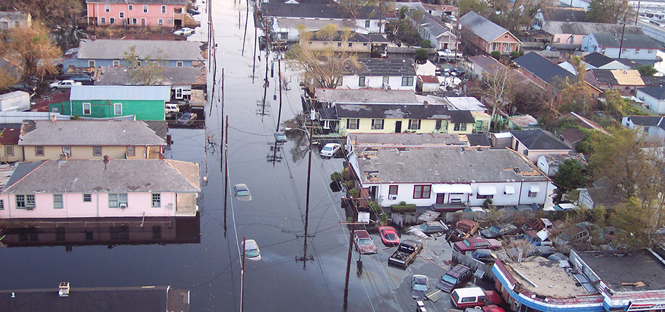 view of New Orleans, Louisiana, following Hurricane Katrina. This ...