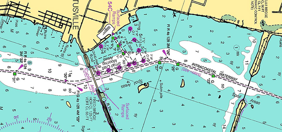 historical nautical chart showing the intracoastal waterway