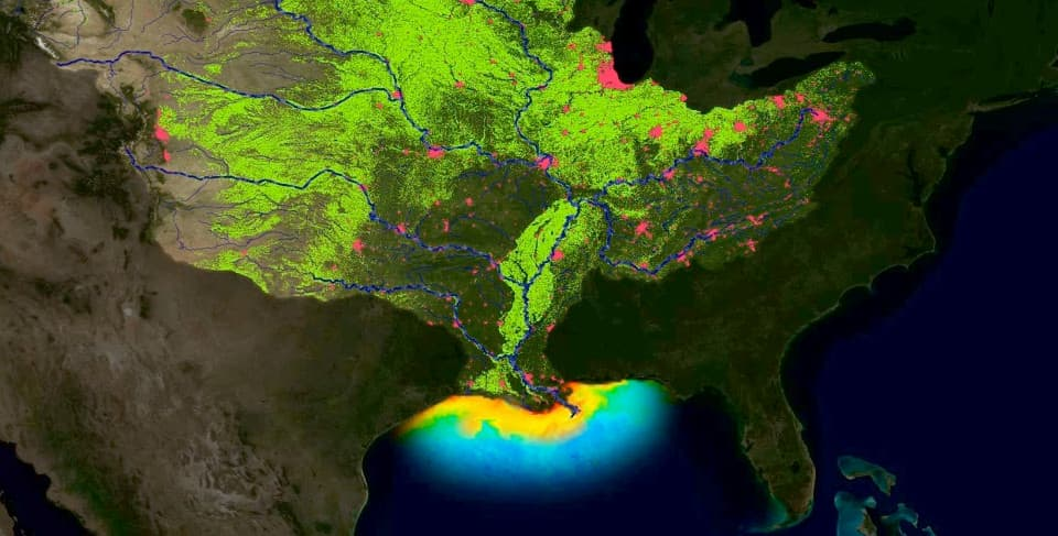 animation of nutrient runoff into Gulf of Mexico