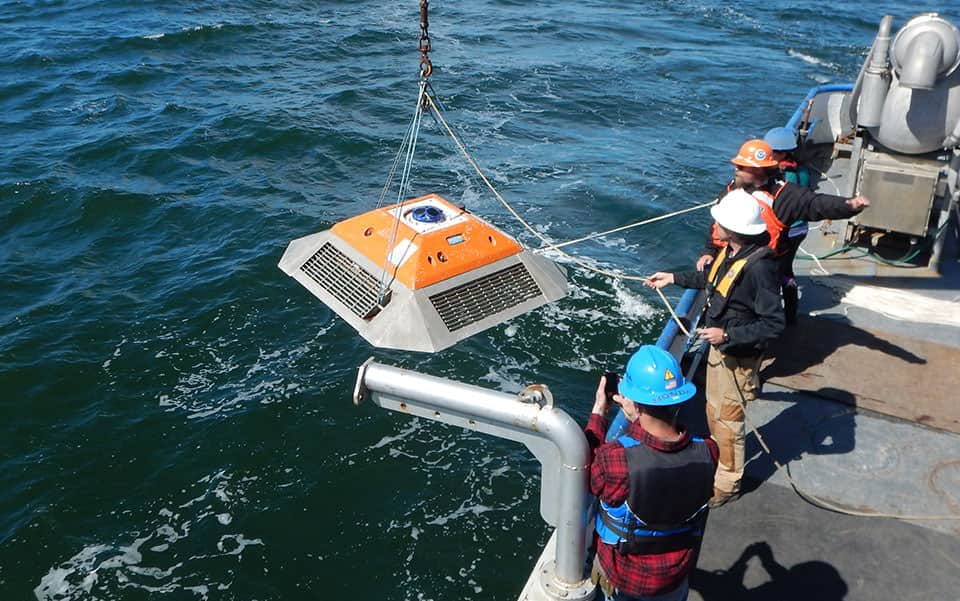NOAA team deploys a current meter