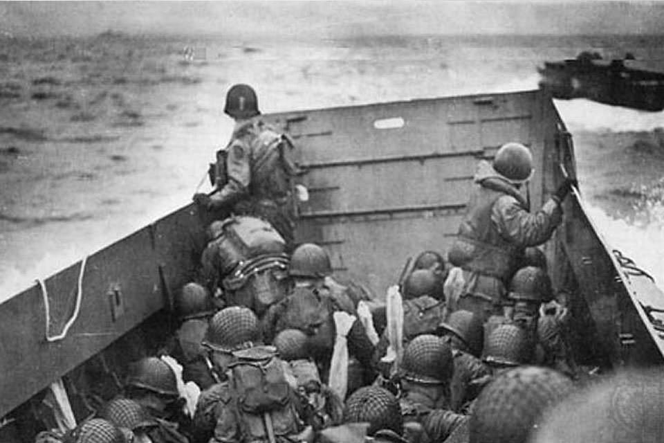 A landing craft on the way to Normandy during the Allied invasion, June 6, 1944. Credit: U.S. Army