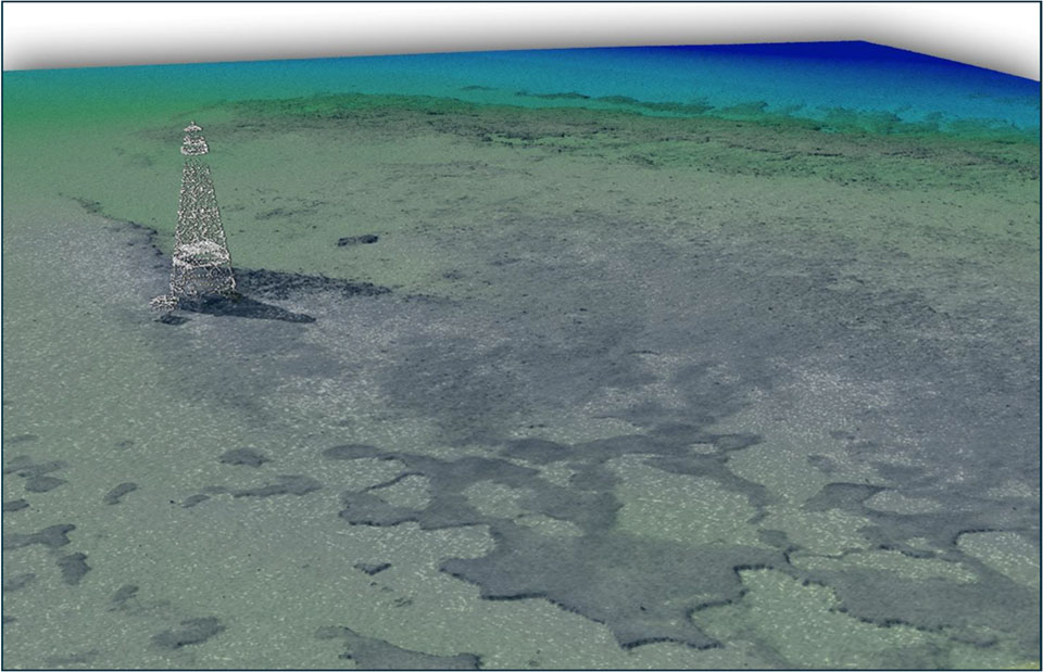 A lidar point cloud of a lighthouse in the Florida Keys area.