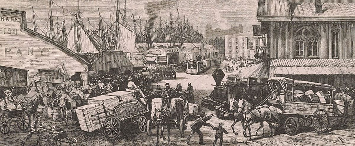 Print shows congestion of horse-drawn carts and wagons overburdened with merchandise on Dock Street, also handcarts, teamsters and longshoremen, and railroad locomotives and cars for hauling goods from ships to markets, includes many wholesale buildings and a transportation terminal, and the masts of many ships docked along the waterfront.