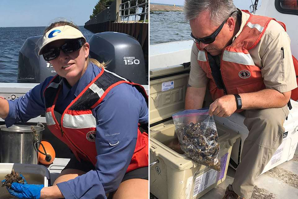 Amy Uhrin and Ed Johnson with mussel samples on boat