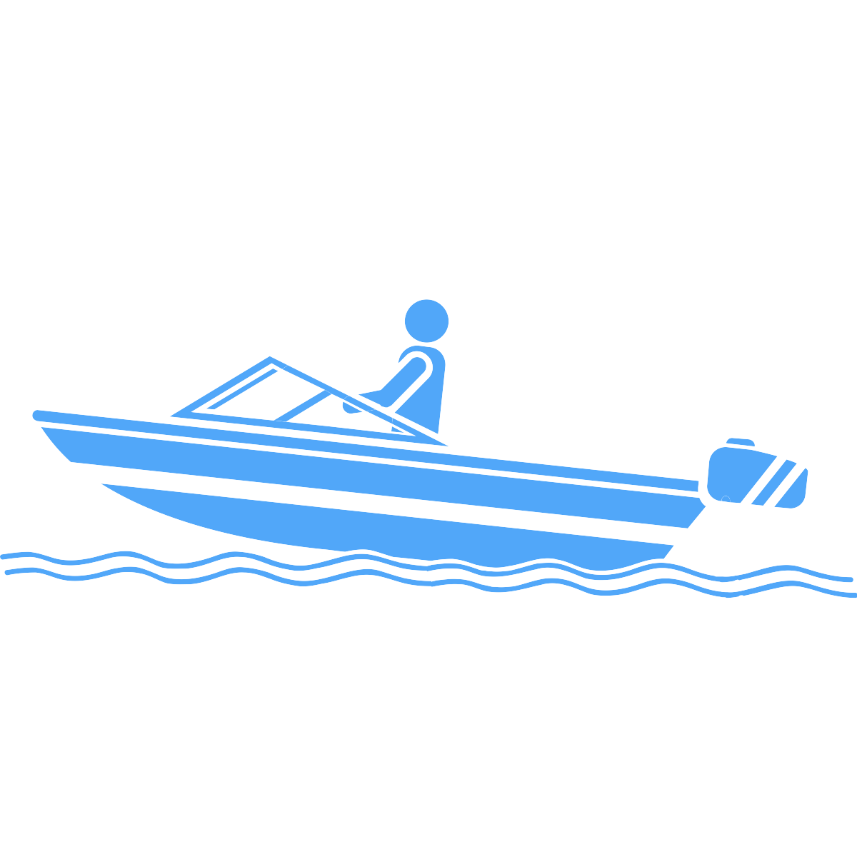 Recreation icon - a person driving a small boat