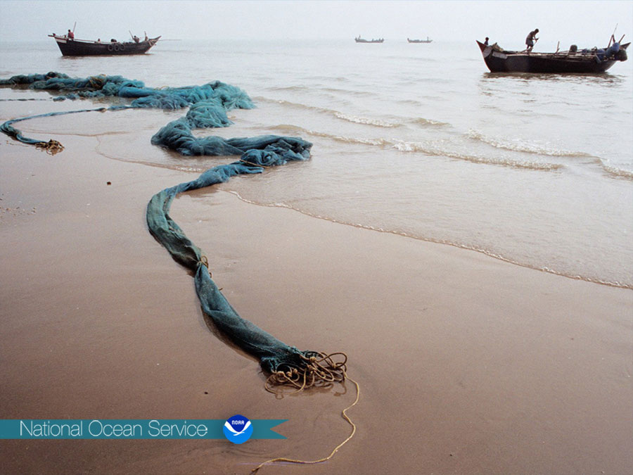 fishing nets on the beach